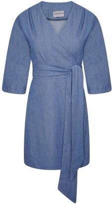 Cocoove Mary H Wrap Dress Kimono In Blue Denim