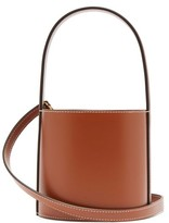 STAUD Bisset Topstitched Leather Bucket Bag - Womens - Tan