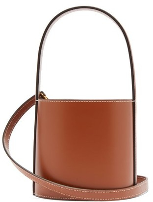 STAUD Bisset Topstitched Leather Bucket Bag - Tan