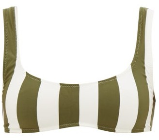 Solid & Striped Elle Scoop-neck Striped Bikini Top - Womens - Green Stripe