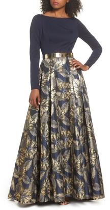 Mac Duggal Long Sleeve Metallic Waist Print Gown