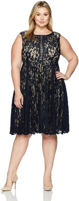 Julian Taylor Women's Size Lace Pleated Dress Plus