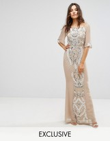 Maya All Over Embellished Bandeau Maxi Dress With Balloon Sleeves Fluted Sleeve
