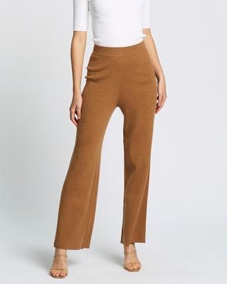 SABA Women's Brown Pants - Luna Wide Leg Knit Pants - Size One Size, M at The Iconic