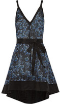 Proenza Schouler Printed Cotton And Silk-blend Mini Dress - Cobalt blue