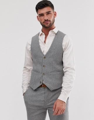 ASOS DESIGN wedding super skinny suit vest in micro gray houndstooth