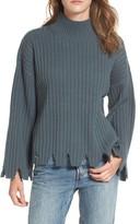 Moon River Women's Chewed Hem Turtleneck Sweater