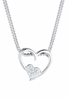 Diamore Women's 925/1000 Sterling Silver Xilion Cut Diamond Necklace Of Length 45 cm