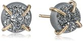 Melissa Joy Manning Metallic Denim 14 Karat Gold and Mist Druzy Post Earrings