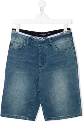 Emporio Armani Kids TEEN denim slim-fit shorts