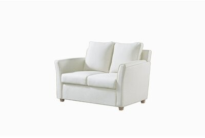 """Thumbnail for your product : Winston Porter Flossmoor 52.25"""" Faux Leather Flared Arm Loveseat Fabric: Cream Faux Leather"""