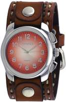Nemesis #LBDT091N Men's Wide Brown Leather Cuff Band Gradient Dial Watch