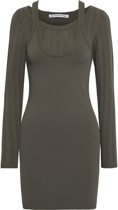alexanderwang.t Layered Jersey And Pointelle-knit Mini Dress
