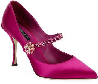 Dolce & Gabbana Satin Mary-Jane Jeweled Pumps