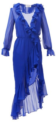 Saint Laurent Ruffled Silk-georgette Wrap Dress - Blue