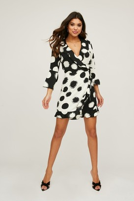 Little Mistress Sublime Monochrome Spot Frill Wrap Dress