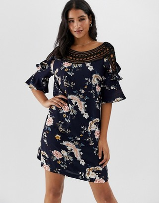 Liquorish floral mini shift dress with crochet insert detail-Navy