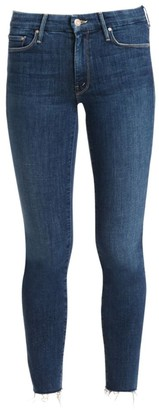 Mother The Looker Mid-Rise Ankle Skinny Fray Hem Jeans