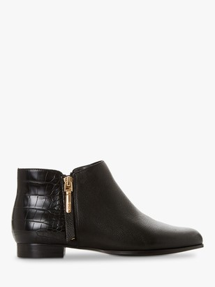 Dune Pandan Leather Croc Print Ankle Boots, Black