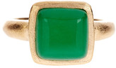 Rivka Friedman 18K Gold Clad Cabochon Green Quartzite Square Petite Stack Ring