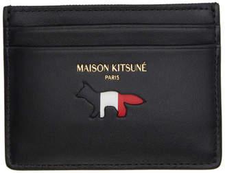 MAISON KITSUNÉ Black Tricolor Logo Leather Card Holder