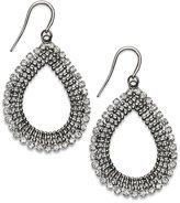 Alfani Hematite Tone and Crystal Open Teardrop Earrings