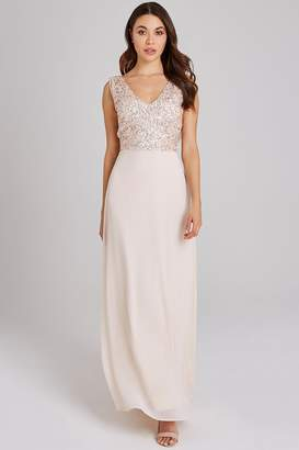 Little Mistress Luxury Ines Nude Hand-Embellished Sequin Maxi Dress