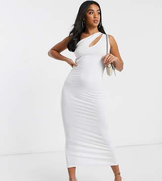 Asos DESIGN Petite going out slash front maxi dress-White