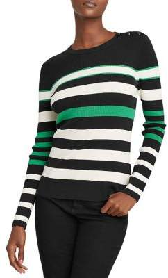 Lauren Ralph Lauren Petite Striped Cotton-Blend Sweater