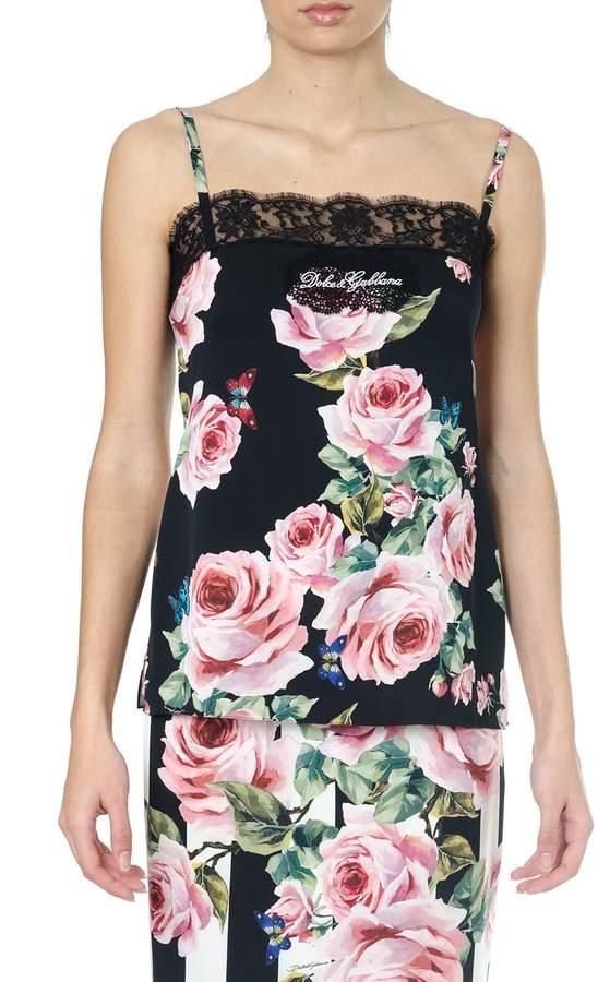 Dolce & Gabbana Black Silk Top Roses Print