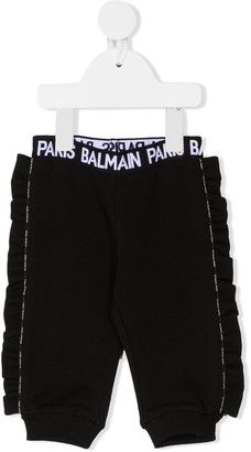 Balmain Kids Logo Waistband Cotton Trousers