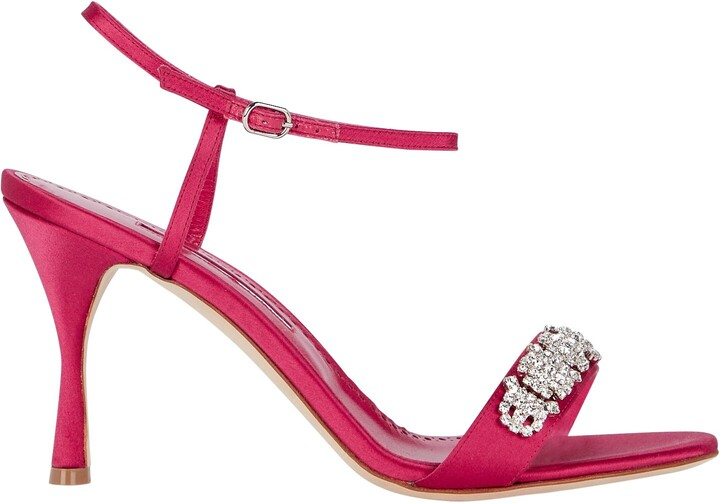 Thumbnail for your product : Manolo Blahnik Drinanu Embellished Satin Sandals
