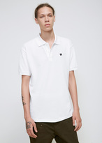 Comme des Garcons White Small Black Heart Polo