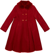 Dolce & Gabbana Girl's Wool Coat w/ Fur Collar, Size 8-12