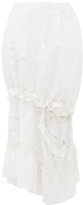 Simone Rocha Ruffled Cutout Sequinned Midi Skirt - White