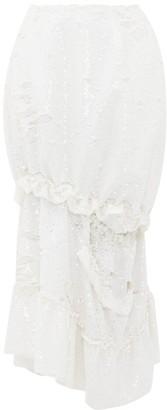 Simone Rocha Ruffled Cutout Sequinned Midi Skirt - Womens - White