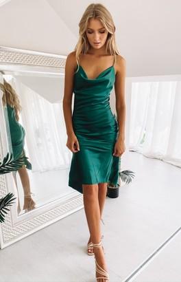 Beginning Boutique Schiffer Slip Midi Dress Emerald
