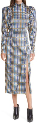 Rotate by Birger Christensen Theresa Houndstooth Check Long Sleeve Satin Dress