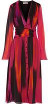 Matthew Williamson Printed Silk-Chiffon Midi Dress