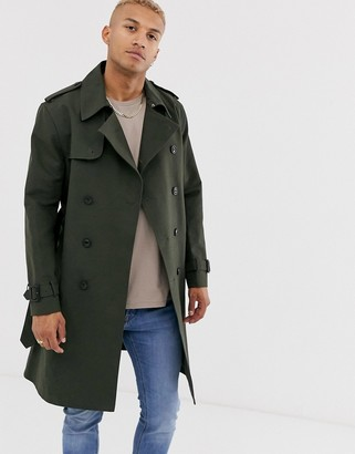 ASOS DESIGN double breasted trench in khaki