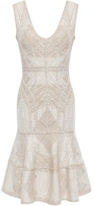 Herve Leger Tiered Metallic Jacquard-knit Dress