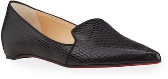 Christian Louboutin Kashasha Snake-Print Flat Loafers