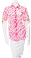 Versace Silk Zebra Print Top w/ Tags