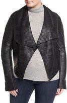 P. Luca Plus Faux-Leather Striped Drape-Front Jacket, Black, Plus Size