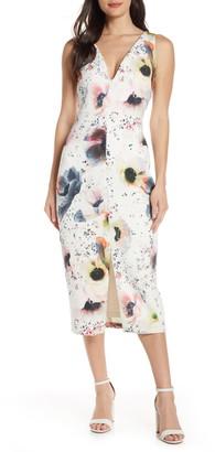 Mark & James by Badgley Mischka Badgley Mischka Floral Print Scuba Midi Dress