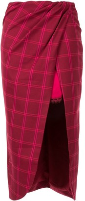 Jonathan Simkhai Windowpane Front Slit Skirt