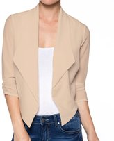 Apparel Sense A.S Juniors Casual Three Quarter Sleeve Open Front Fitted Crop Blazer (-)