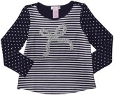 Design History Polk Dot & Lurex Bow Top (Toddler/Kid)-True Blue-4