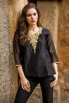 Dressy Black Beaded and Embroidered Cotton and Silk Tunic, 'Midnight Princess'