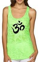 Yoga by Epic MMA Gear Yoga, Aum, Om, Ohm, India Symbol Burnout Racerback Tank Top